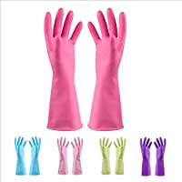 CHLCH Reusable silicone gloves, silicone cleaning brush, scrubber gloves, heat resistant for cleaningDishwashing laundry 30CM pink
