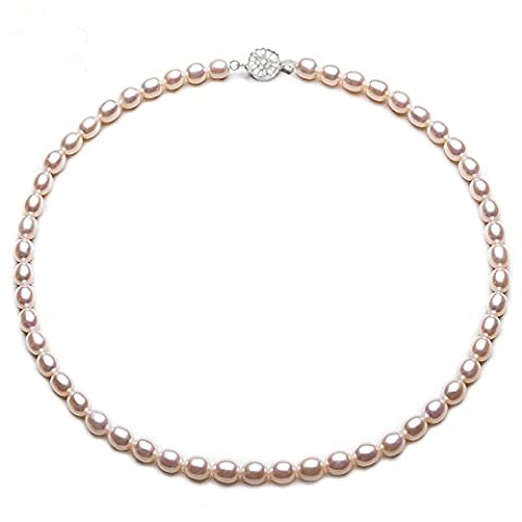Jyx délicat 4x 5mm ovale de culture d'eau douce Collier de perles ras du cou 41,9cm