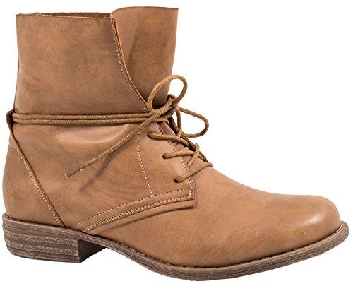 Elara Damen Stiefelette | Biker Boots | Trendy Lederoptik | Chunkyrayan H23-Khaki-38
