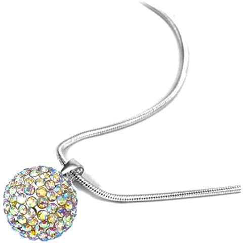 Shamballa Disco Ball Aurora Borealis collana di cristallo 15 mm