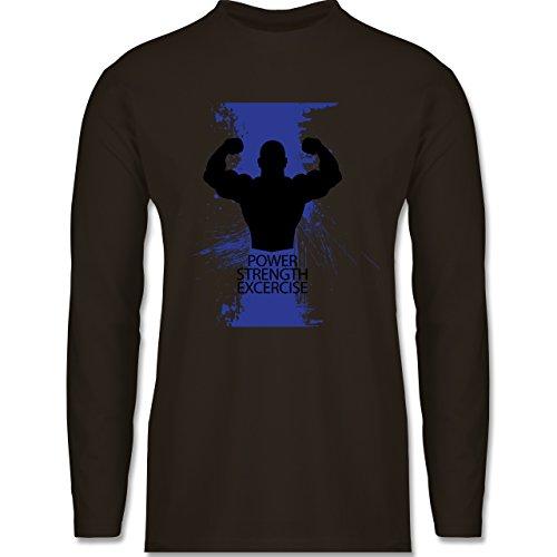 Shirtracer CrossFit & Workout - Power Strength Exercise - Herren Langarmshirt Braun