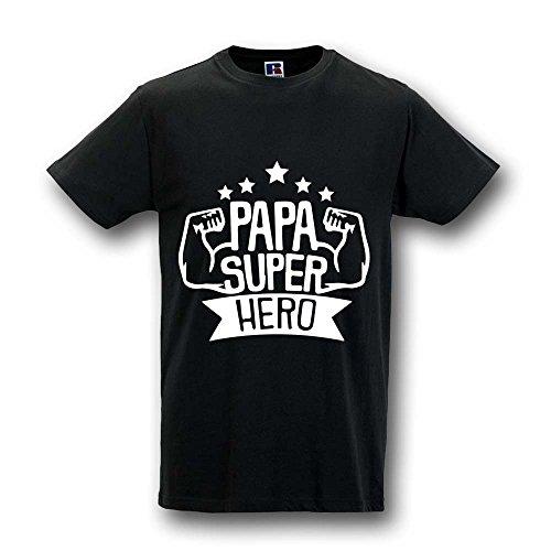 T shirt maglia maglietta idea regalo per il papa' personalizzata papa' superhero l nera