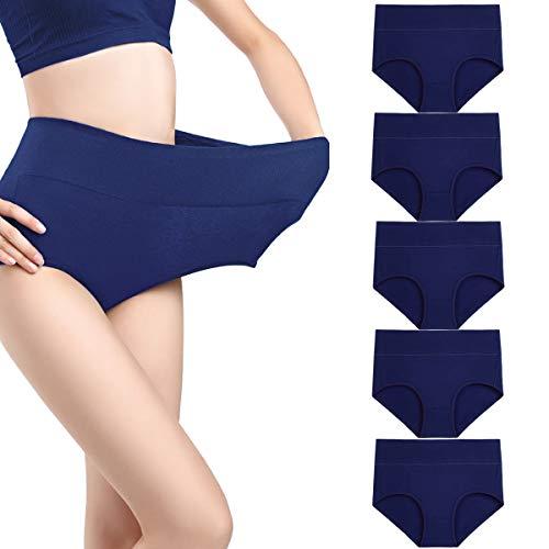 wirarpa Unterhosen Damen Taillenslip High Waist Slip Baumwolle Schlüpfer 5er Pack Wochenbett Unterwäsche, Blau-5er Pack, XX-Large (50/52/54) Blauer Slip