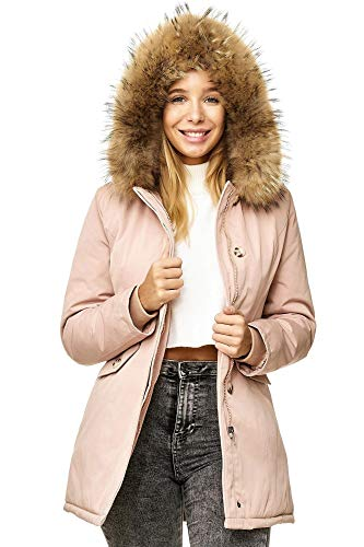 Elara Damen Winterparka | Jacke mit Echt Pelz / Echt Fell Kapuze | Designer Damenjacke | Gefütterte Outdoor Mantel | chunkyrayan, Größe 38, Farbe Pink