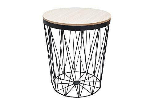 DuNord Design Beistelltisch schwarz 43cm Eiche Metall Tisch -