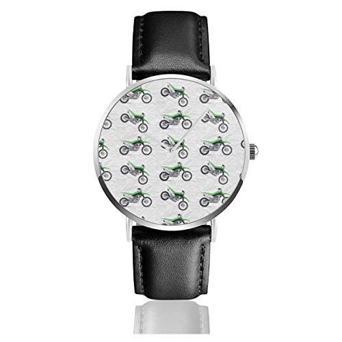 Armbanduhr Quarzuhr grün Dirt Bike Grauer Schmutz Hintergrund Casual Uhren für Herren Damen Damen mit schwarzem Leder Armbanduhr