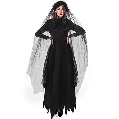 Schwarz Kleid Kreative Kostüm - CJJC Kreative Cosplay Dead Female Ghost Kleidung, Rollenspiel Hexe Kostüm, Lange Schwarze Vampir Braut Kleider mit Schleier, Holiday Party Decor L
