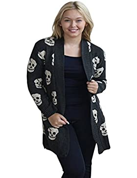 Zara Fashion-Plus Size di -Women stampa del cranio maglione lavorato a maglia cardigan della parte superiore