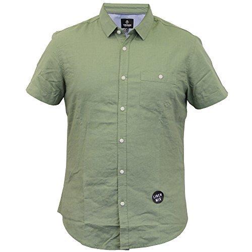 UOMO LINO camicia Threadbare Manica Corta Con Colletto Casual, elegante estate NUOVO Verde - kmv076pka