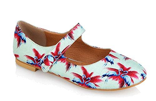 Lulu Hun RUBY Tropical FLAMINGO Vintage Riemchen FLATS Ballerinas Rockabilly