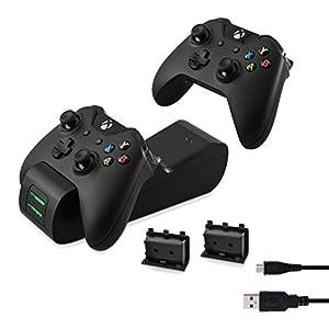 kwmobile Dockingstation für Xbox One / One S Controller – mit Akkus für Microsoft X-Box One Gamepad und LED-Statusanzeige – Dual Docking Ladestation