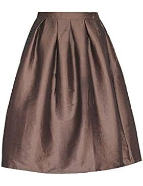 Suvimuga Vintage 1940 Hepburn Mujeres De Cintura Alta Falda De Una Linea De Swing MIDI