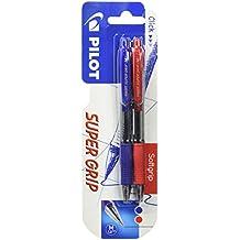 Pilot Super Grip - Set 2 bolígrafos, color azul y rojo - Bolígrafo retractil Supergrip 2 unidades azul y rojo