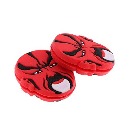FLAMEER 2 Pack Opern Masken Form Tennis Schwingungsdämpfer Stoßdämpfer Dämpfer - Schwarz Rot
