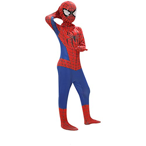 ZHANGQI Spiderman Cosplay Kleidung Kind Junge Meilen Spinne Erwachsene Cosplay Anzug Metall Spider Man Strumpfhosen,D-M