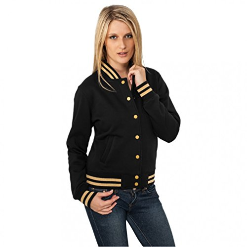 Ladies Metallic College Sweatjacket Black/Fuchsia