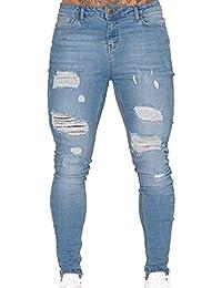 ShiFan Herren Jeans mit Löchern Hose Basic Stretch Jeanshose Enge b1c371be39