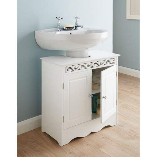 G-0108 Saxony Beautifully Carved Design Under Sink Cabinet Bathroom Storage Unit - White
