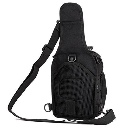Imagen de hunt  táctical  de hombro  de bandolera  de pecho estilo militar bolso de múltiple función  ejércita bolso impermeable para correr, senderismo, ciclismo,camping, caza, etc, color negro alternativa