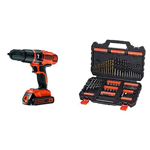 Preisvergleich Produktbild Black+Decker 2-Gang Li-Ion Akku Schlagbohrschrauber + Bohrer- und Schrauberbit-Set