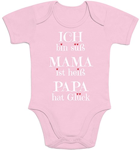 Süßer Spruch Ich bin süss, Mama ist heiß, Papa hat Glück Baby Body Kurzarm-Body Newborn Rosa