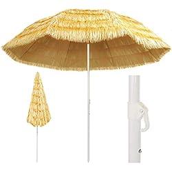vidaXL Parasol de Plage Naturel 300 cm Style Hawaïen Pare Soleil Terrasse