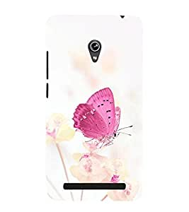 Takkloo Pink Butterfly ( Butterfly on flower, white background, flying bird, Flying wings of buttorfly, nice picture) Printed Designer Back Case Cover for Asus Zenfone 5 A501CG