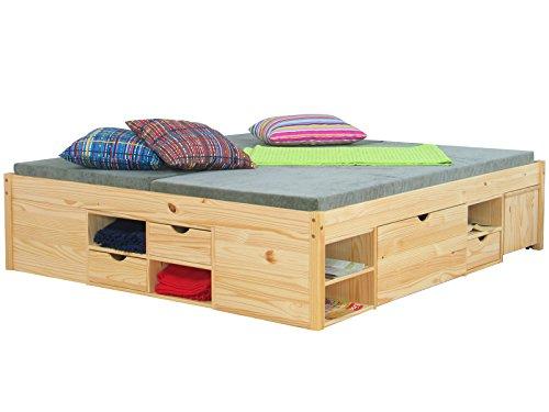 Dynamic24 Doppelbett CLAAS Bettgestell Ehebett Rahmen Bett Schlafzimmer 140 x 200 Massiv