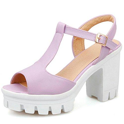 COOLCEPT Damen Mode T-Spangen Sandalen Peep Toe Slingback Plateau Blockabsatz Schuhe Violett