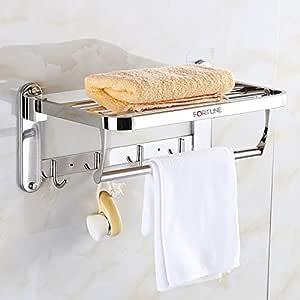 Fortune Lavish 1.5 feet Stainless Steel Folding Towel Rack | Towel Stand | Towel Hanger | Towel Holder | Rack Shelf | Bathroom Accessories-(Round) (18 INCH)