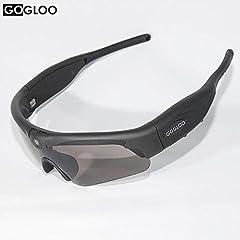 Idea Regalo - Occhiali da sole di alta qualità con camera Sport embarquée, registrazione video Full HD 1080P, WiFi, Filtro UV400, per sport, attività all' aperto,... Nero