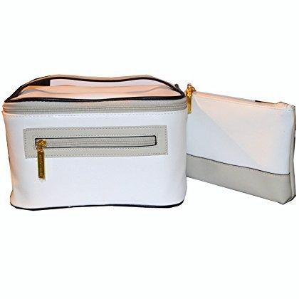 Estee Lauder Luxus weißen Kunstleder-Make-up Fall und Kosmetiktasche Set -