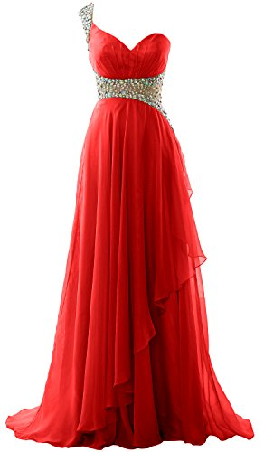 MACloth Elegant One Shoulder Chiffon Long Prom Dress 2018 Formal Evening Gown red