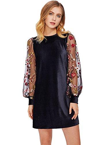 ROMWE Vestido de la túnica del Terciopelo de la Manga del Obispo Bordado  Floral de Las 6ebc67aae1