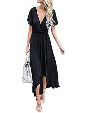 Donna Summer Elegante A Maniche Corte Con Lo Scollo A V Alto Basso Ampio Orlo Maxi Boho Beach Vestito Con Cintura