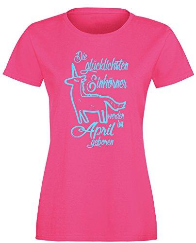 Die Glücklichsten Einhörner werden im April geboren! Perfektes Geschenk zum Geburtstag - Damen Rundhals T-Shirt Fuchsia/Hellblau