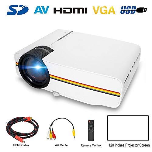 ATOMICO LED-Mini-Projektoren, 150 '' tragbarer LCD-HD-Projektor-Heimkino-Support 1080P HDMI/VGA/USB/SD/AV-Eingang für DVD-Player, Smartphone, Laptop,White