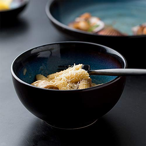 HR Retro Blue Keramik Schüssel Home Geschirr, Reisschüssel, Suppenteller, tiefes Waschbecken, Teller, Teller Kreative Keramik Schüssel Rice Bowl Scorpion Bowl