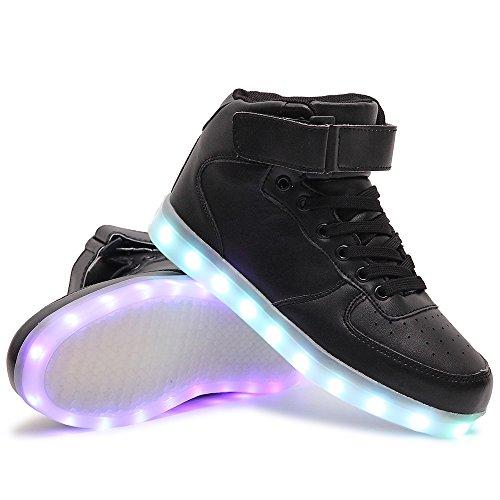 HUSK'SWARE Unisex Kinder Jungen Mädchen LED Schuhe mit USB Sportschuhe Sneakers Hoch-Spitze Schwarz