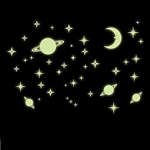 Pegatina Pared Vinilo Decorativo Adhesivo Decoración Infantil Dormitorio Fluorescente Estrellas Planetas