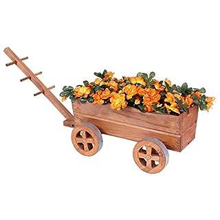 Pflanzwagen Holz braun Blumenwagen Blumenkarre Pflanztopf Bollerwagen Dekoration