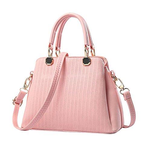 Sentao Donna Vintage Borsetta Crossbody Borsa PU Cuoio Borsa a Tracolla Borse a mano Pink