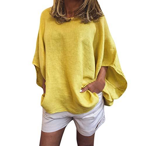 erteile, Frauen Sommer Beiläufige lose Laternenärmel Rundhals Feste Tasche Tägliche Tunic T-Shirt Bluse Oberseiten ()