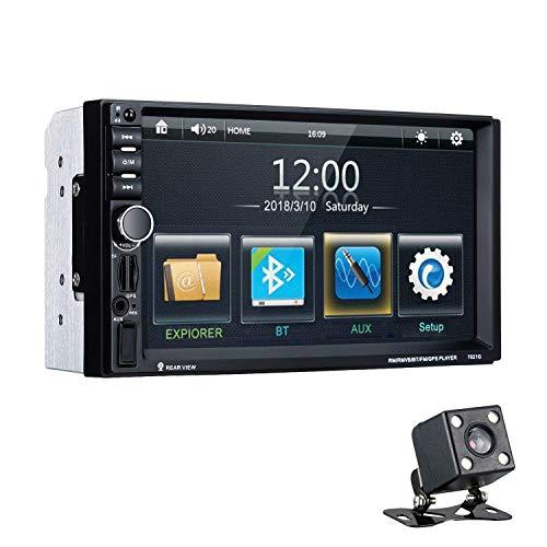 Excelvan Reproductor MP5 7021G para Coche, 7' Pantalla Táctil Digital Autoradio Bluetooth GPS Navegación Radio 2 DIN con Mapa Europea incorporada, Cámara Trasera, Control Remoto