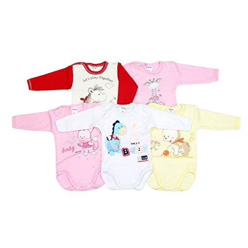 5er Set Baby Langarm-Body 100% Baumwolle Babybody mit Aufdruck Mädchen Bodies Junge Langarmbody, Farbe: Mädchen, Größe: 74