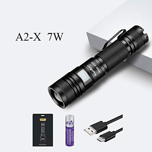 Lipiy Taschenlampe LED Zoom Blitzlicht Wiederaufladbare A2 USB Taschenlampe für Convoy, A2-X