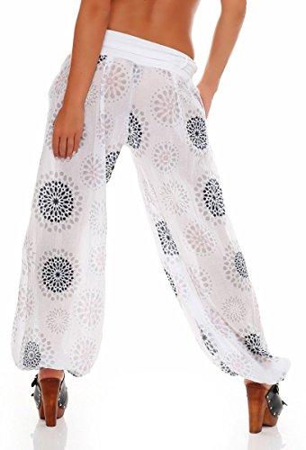 malito Damen Pumphose mit Print | leichte Stoffhose inkl. Gürtel | bequeme Freizeithose | Haremshose �?lässig 3481 Weiß