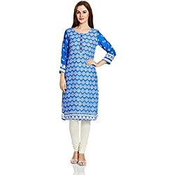 Rangriti Women's Straight Kurta (RMMBLUE MOON1291_Indigo_36)