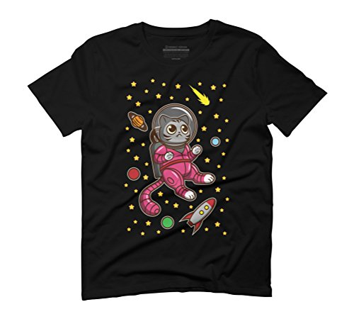 Kitty Cat in Space Men's Graphic T-Shirt - Design By Humans Black