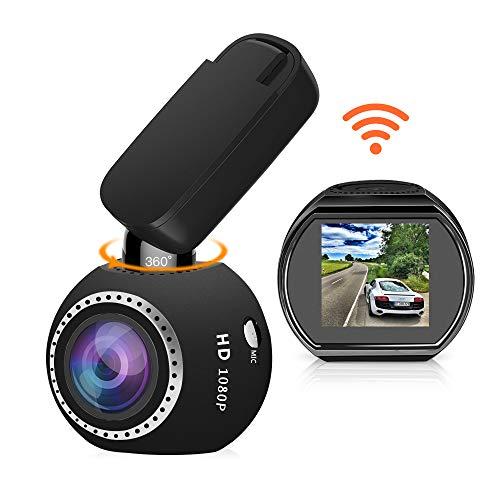 Auto Kamera WiFi DashCam 1080P Full HD Armaturenbrett Kamera Mini Magnetische Auto DVR Rekorder mit 360 Drehwinkel G-Sensor Nachtsicht Loop Aufnahme Bewegungserkennung